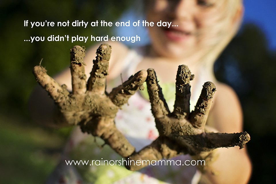 Child with muddy hands