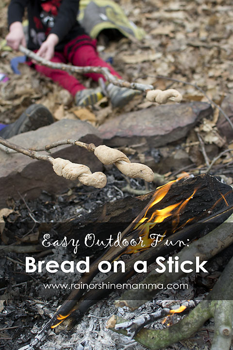 Grilling bread on a stick