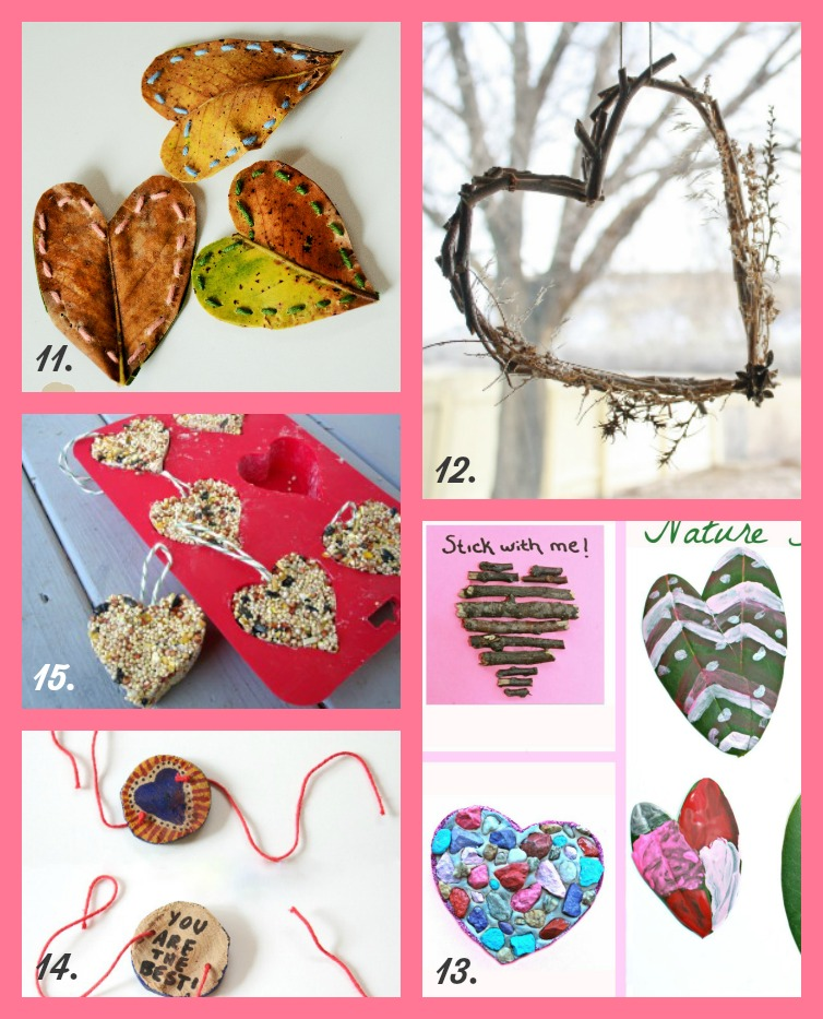15 Nature-Inspired Valentine Crafts, Activities and Cards for Kids. Celebrate Valentine's Day with these fun and kid-friendly DIY projects. Heart-shaped bird feeders, rock mosaic, heart bracelet and more! Rain or Shine Mamma.