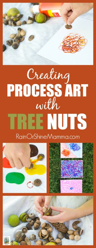 Process Art with Tree Nuts. A child-led, open-ended art activity for preschoolers and kindergartners. A perfect nature art project for fall!. Rain or Shine Mamma.