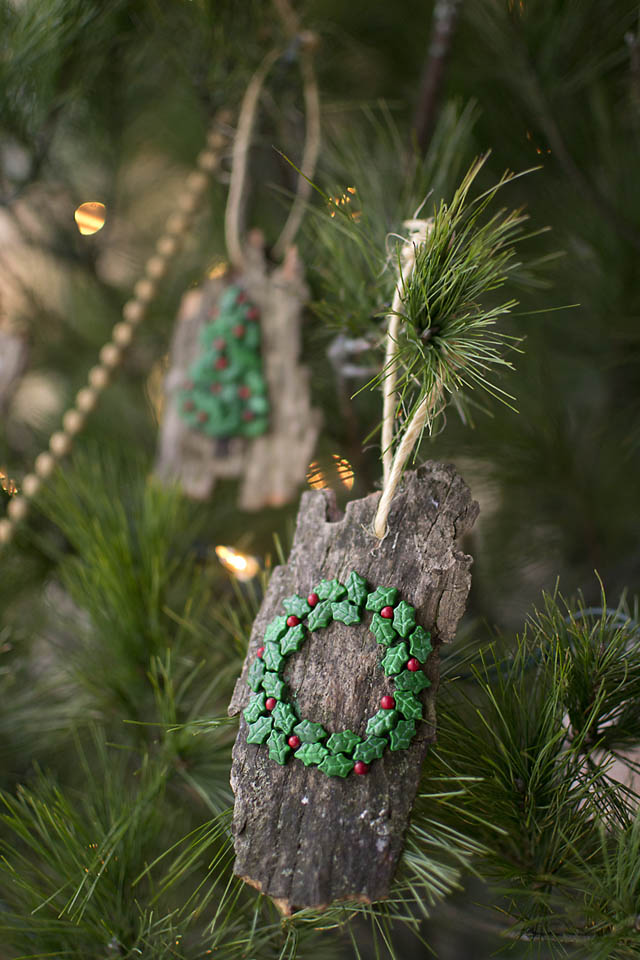 diy christmas ornaments from bark natural and kid friendly rain or shine