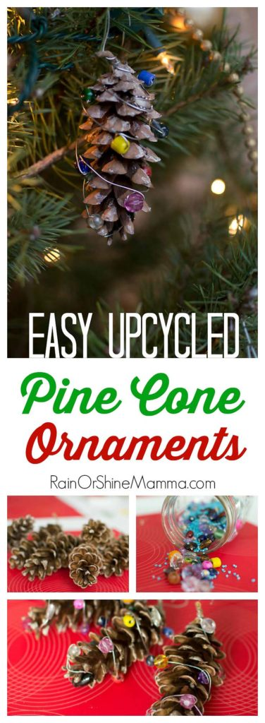 Easy Upcycled Pine Cone Ornaments. Fun and natural Christmas ornament that kids can make with a little help from an adult! These pinecone ornaments from natural and upcycled materials are a great handmade Christmas gift for grandparents or teachers.