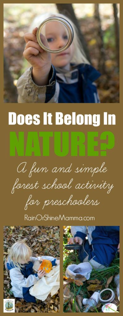 Does It Belong In Nature? A fun and simple forest school activity for preschoolers. It also makes for a perfect Earth Day activity for kids! Rain or Shine Mamma.