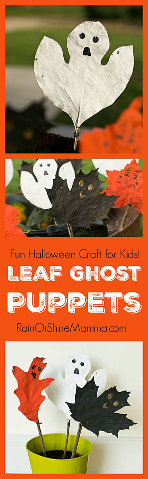 These Leaf Ghost Puppets are a fun Halloween craft for kids and adults alike! An easy to make Halloween nature craft from natural materials. The puppets can be used as DIY Halloween decor or for active play. From Rain or Shine Mamma.