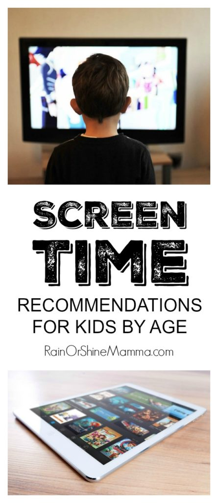 New Screen Time Recommendations for Kids. New guidelines on screen time for preschoolers and older children from the American Academy of Pediatricians. From Rain or Shine Mamma.