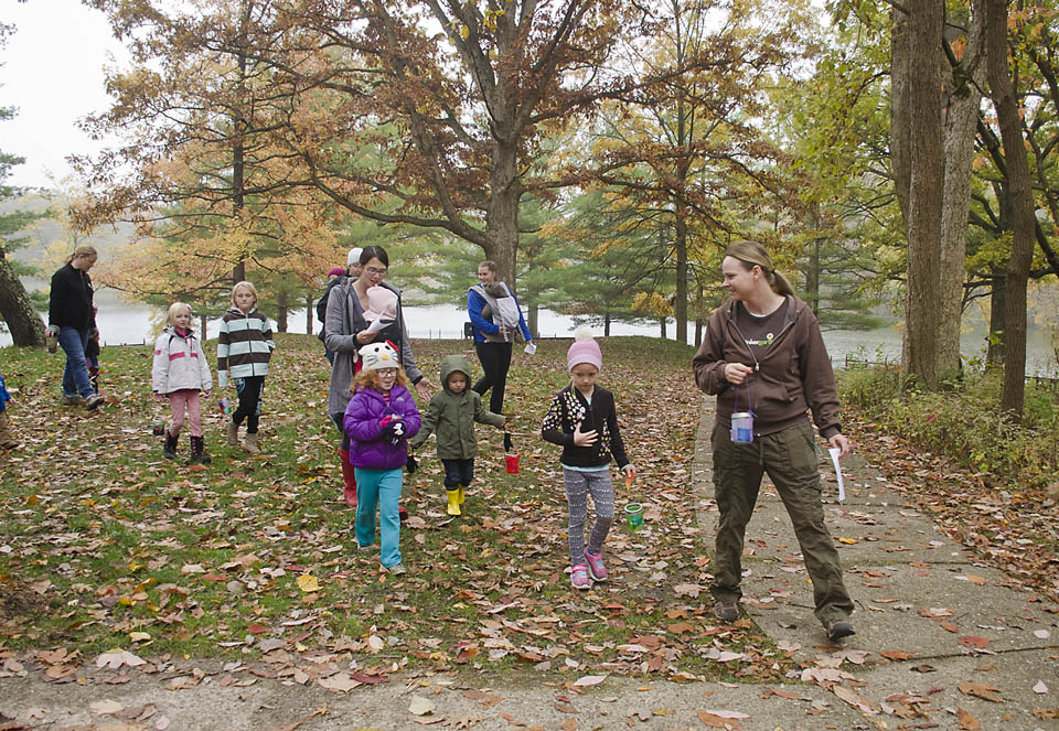 "Tinkergarten leader Marissa Northam does a ""lantern walk"" with her class."