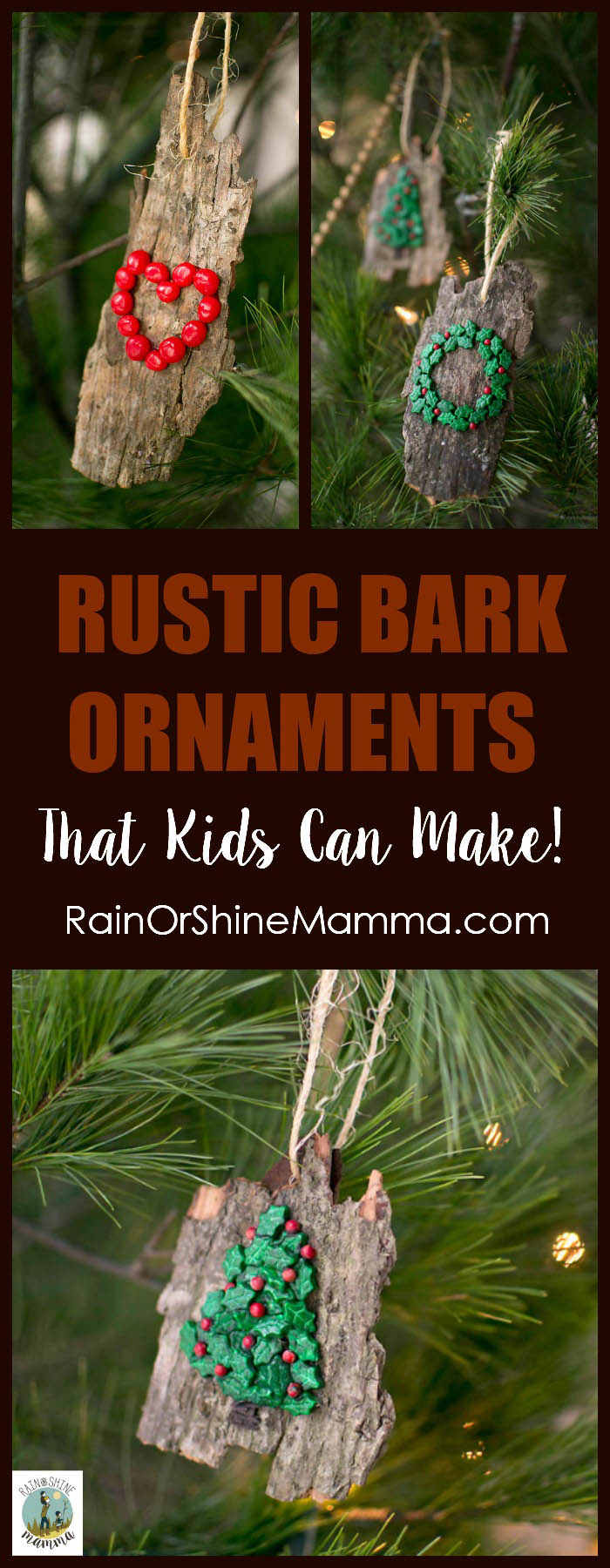 DIY Christmas Ornaments from Bark. All-natural and easy Christmas tree ornaments that kids can make! Nature-inspired and beautiful - a perfect homemade gift for the grandparents or a teacher. This is a holiday craft that is fun for kids and adults alike. #DIY #Christmas #Craft #Natural Rain or Shine Mamma