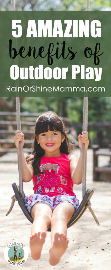 5 Ways Outdoor Play Benefits Kids. Research shows playing outside boosts children's physical and mental development. Find out how time in nature can help nurture your child. Rain or Shine Mamma