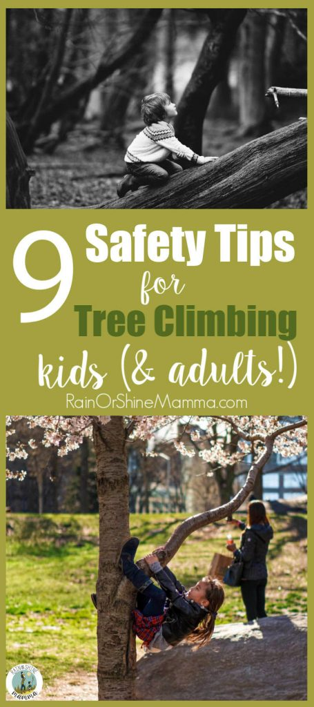 9 Safety Tips for Kids Climbing Trees. Does your tree climbing child make you nervous? These tips will ease your own fears and help your child learn how to negotiate risk. #treeclimbing #kids #tree #riskyplay